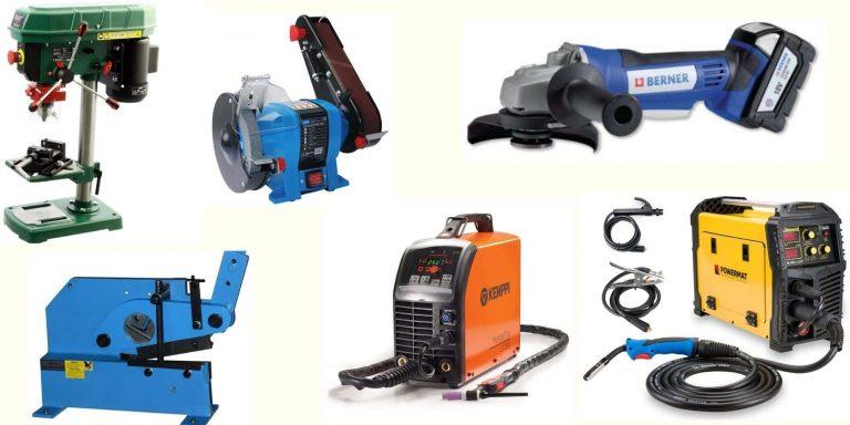Andere Maschinen und Geräte - Bomar Bandsäge, kombinierte Schleifmaschine, Berner Schleifmaschinen, Standbohrmaschinen, Profilscheren